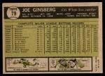 1961 Topps #79  Joe Ginsberg  Back Thumbnail