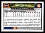 2008 Topps #60  Jose Reyes  Back Thumbnail