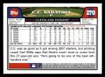 2008 Topps #270  C.C. Sabathia  Back Thumbnail
