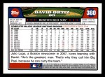 2008 Topps #360  David Ortiz  Back Thumbnail