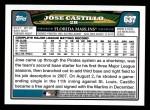 2008 Topps #637  Jose Castillo  Back Thumbnail