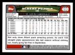 2008 Topps #490  Albert Pujols  Back Thumbnail