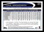 2012 Topps #221  Luke Gregerson  Back Thumbnail