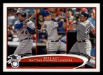2012 Topps #239   -  Miguel Cabrera / Michael Young / Adrian Gonzalez AL BA Leaders Front Thumbnail