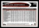 2012 Topps #266  Carlos Corporan  Back Thumbnail