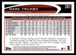 2012 Topps #281  Mark Trumbo  Back Thumbnail