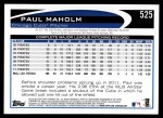 2012 Topps #525  Paul Maholm  Back Thumbnail