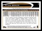 2012 Topps #1  Ryan Braun  Back Thumbnail