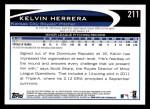 2012 Topps #211  Kelvin Herrera  Back Thumbnail