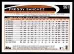 2012 Topps #561  Freddy Sanchez  Back Thumbnail
