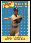 1958 Topps #482   -  Ernie Banks All-Star Front Thumbnail