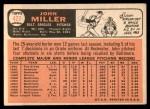 1966 Topps #427  John Miller  Back Thumbnail