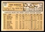 1963 Topps #421  Tom Morgan  Back Thumbnail