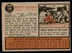 1962 Topps #258  Marty Keough  Back Thumbnail