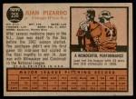 1962 Topps #255  Juan Pizarro  Back Thumbnail