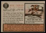 1962 Topps #589  Bob Turley  Back Thumbnail