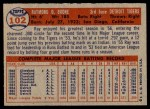 1957 Topps #102  Ray Boone  Back Thumbnail