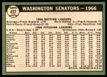 1967 Topps #437   Senators Team Back Thumbnail