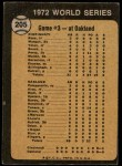 1973 Topps #205   -  Tony Perez / Darrel Chaney / Gene Tenace 1972 World Series - Game #3 - Reds Win Squeeker Back Thumbnail