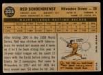1960 Topps #335  Red Schoendienst  Back Thumbnail