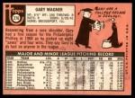 1969 Topps #276  Gary Wagner  Back Thumbnail