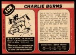 1968 O-Pee-Chee #108  Charlie Burns  Back Thumbnail
