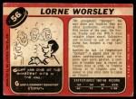 1968 O-Pee-Chee #56  Gump Worsley  Back Thumbnail
