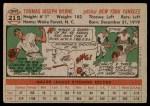 1956 Topps #215  Tommy Byrne  Back Thumbnail