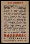 1951 Bowman #245  John Berardino  Back Thumbnail