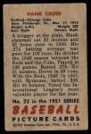 1951 Bowman #22  Hank Sauer  Back Thumbnail