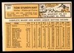1963 Topps #281  Tom Sturdivant  Back Thumbnail
