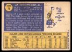 1970 Topps #79  Clay Kirby  Back Thumbnail