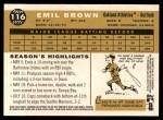 2009 Topps Heritage #116  Emil Brown  Back Thumbnail