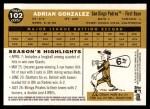 2009 Topps Heritage #102  Adrian Gonzalez  Back Thumbnail