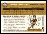 2009 Topps Heritage #409  Kurt Suzuki  Back Thumbnail
