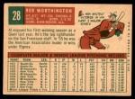 1959 Topps #28  Red Worthington  Back Thumbnail
