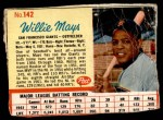 1962 Post #142  Willie Mays   Front Thumbnail
