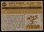 1960 Topps #514  Steve Barber  Back Thumbnail