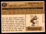 1960 Topps #71  Marty Keough  Back Thumbnail
