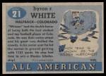 1955 Topps #21 COR Whizzer White   Back Thumbnail