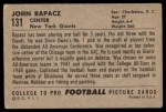 1952 Bowman Large #131  John Rapacz  Back Thumbnail