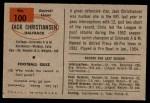 1954 Bowman #100  Jack Christiansen  Back Thumbnail