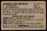 1952 Bowman Large #1  Norm Van Brocklin  Back Thumbnail