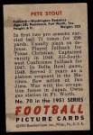 1951 Bowman #70  Pete Stout  Back Thumbnail