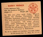 1950 Bowman #42  Barry French  Back Thumbnail