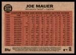 2011 Topps Heritage #316   -  Joe Mauer Mauer Sends One into Orbit Back Thumbnail