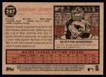2011 Topps Heritage #247  Jonathan Lucroy  Back Thumbnail