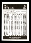 1991 Conlon #13  Red Ruffing  Back Thumbnail