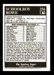 1991 Conlon #256   -  Schoolboy Rowe All-Time Leaders Back Thumbnail