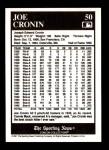 1991 Conlon #50  Joe Cronin  Back Thumbnail